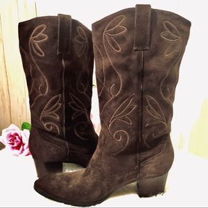 Bandolino Suede Brown Western Boot Size 9